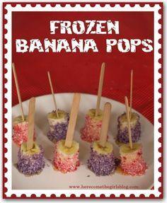 Frozen banana pops- yum!