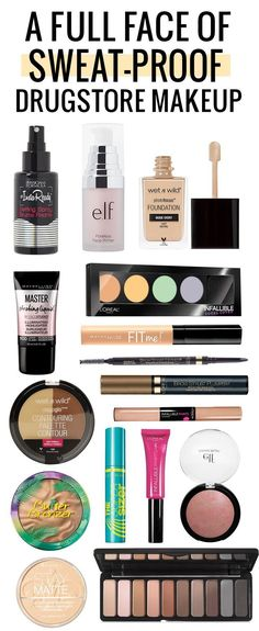 A full face of amazing sweat-proof drugstore makeup! Click through to see the tu