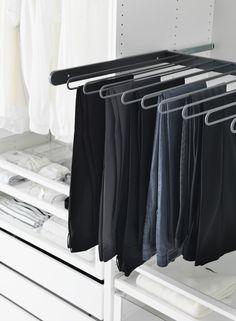 Todas as calças servem aqui. #decoração #arrumação #roupeiros #IKEAPortugal Walking Closet, Woman Cave, Lady Cave, Ikea Pax, Dressing Area, Home Bedroom, Wardrobes, Home Organization, Wardrobe Rack