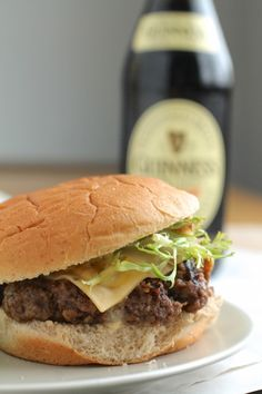 Smoked gouda beer burgers! Top them with grilled green onions and pair them with a rich stout and you've got yourself a par-taaayyyy.