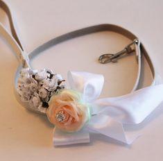 White Peach and Mint wedding dog Leash Wedding by LADogStore, $45.50