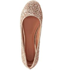 Charlotte Russe Glittery Ballet Flats (245 ZAR) ❤ liked on Polyvore featuring shoes, flats, champagne, champagne flats, ballerina pumps, glitter shoes, ballet pumps and metallic ballet flats