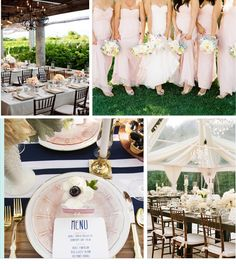 Navy, champagne, white, blush & sage. My color palette of choice. Rustic, chic & preppy.