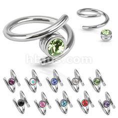 Twist with Single CZ 316L Surgical Steel  - www.hollywoodbodyjewelry.com