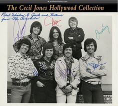 "The Osmond family signed photograph. (ca. 1970s) Vintage gelatin silver 10 x 8 in. single-weight glossy family portrait inscribed in blue ink at the top right corner ""Best wishes to Jack and Hortense from The Osmonds"" and signed by Donny, Marie, Merrill, Jay, Wayne, Alan, and Jimmy."