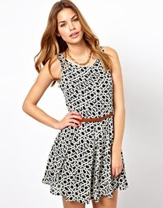 Love the print on this belted skater dress from Asos.com for $37.30 #dress