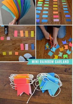 Mini Rainbow Garland- so simple to make! I could do this for Elizabeth's birthday party!Mini Rainbow Garland (Use the triangles left from cutting out for a sewn garland!) maybe for a holiday partyThis simple garland is easy to make and can be used an Ramadan Crafts, Diy And Crafts, Crafts For Kids, Arts And Crafts, Diy Paper, Paper Crafting, Diy Girlande, Diy Party Decorations, Polka Dot Decorations