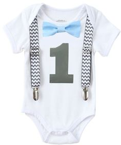 Noah's Boytique Boys Cake Smash Outfit First Birthday Grey Chevron Blue Bow Grey Number One 12-18 Months