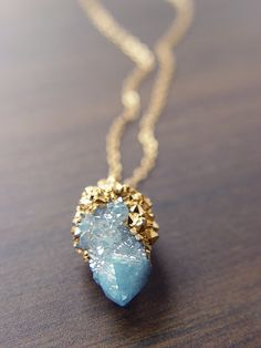 Spirit Aqua Aura Quartz Drusy Gold Dipped Necklace $79