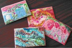 Artist Postcards - These are sure to appeal to artists that swap these small works of art with others since four can be easily made from one piece of felt, yet each postcard ends up with a unique look!