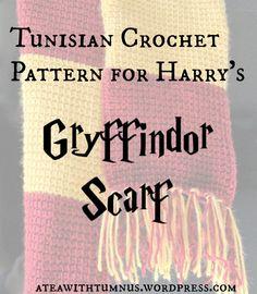Tunisian Crochet Pattern for Harry's Gryffindor Scarf - Tea with Tumnus.jpg