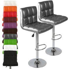 lot de 2 tabourets de bar gris en chrome et cuir synthtique rotatifs et - Amazon Bar Stools