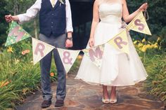Mr & Mrs Bunting: could be good for the stage? Wedding Bunting, Rustic Wedding, Our Wedding, Dream Wedding, Wedding Things, Wedding Stuff, Wedding Bells, Wedding Fayre, Fantasy Wedding