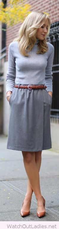 Shades of grey, love the brown accessories