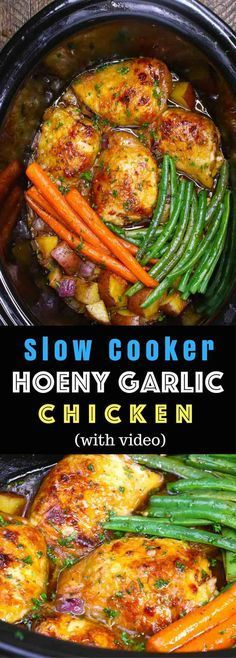The easiest, most unbelievably delicious Slow Cooker Honey Garlic Chicken With Veggies. It's one of my favorite crock pot recipes. Succulent chicken cooked in honey, garlic, soy sauce and mixed vegetables. Preparation is an easy 15 minutes. Easy one pot recipe. Video recipe. | Tipbuzz.com #chickenfoodrecipes