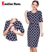 Emoción mamás nuevo algodón ropa de maternidad fiesta vestidos de maternidad ropa para mujeres embarazadas lactancia enfermería verano dress(Hong Kong)
