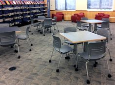 KI's educational furniture is versatile, durable & supports community-driven learning. Award winning designs created by education market experts. at the University of San Francisco Cafeteria Table, School Library Design, Seat Foam, Library Inspiration, Classroom Training, Used Chairs, Learning Spaces, Space Saving, Furniture Design
