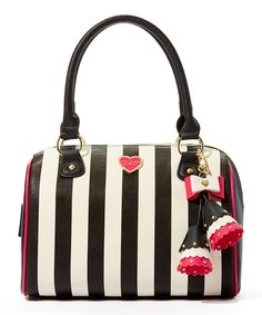 Another great find on #zulily! Betsey Johnson Black & White Stripe Satchel by Betsey Johnson #zulilyfinds