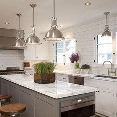 Gray Center Island, Transitional, kitchen, Dunn Edwards Silver Spoon, Cynthia Marks Interiors