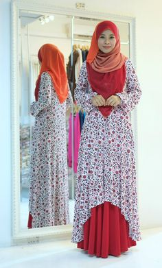 Muslimah Red Floral Fishtail Dress
