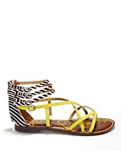 4fee294dcf5a Sam Edelman Sandals - black and white stripes with yellow