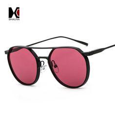 #SUNGLASSES #NEW SHAUNA Thick Matte Metal Frame Women Round Sunglasses Double Bridges Fashion Men Red Tinted Lens Shades UV400
