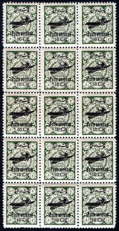 "1928 -1929 Airmail - Revenue Stamps Overprinted ""Poste aérienne"" - 10 Shahi"
