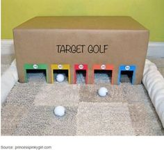 12 Jeux en carton recyclé pour nos enfants Target Golf, Living Room Decor Brown Couch, Kids Indoor Playground, Build A Playhouse, Maila, Golf Humor, Camping With Kids, Games For Kids, Golf Clubs