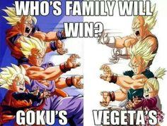 Goku's family vs vegeta's family