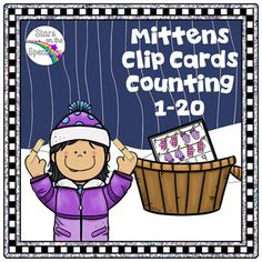 Winter Math Clip Cards for counting and matching sets of 1-20 objects with a fun  theme.  Use for centers, partner work or individual work. More Math Clip Cards Christmas Math ElvesChristmas Math Clip Cards CupcakesFire Safety Math Clip CardsThanksgiving Math Clip CardsGingerbread Math Clip CardsTelling Time Math Clip Cards
