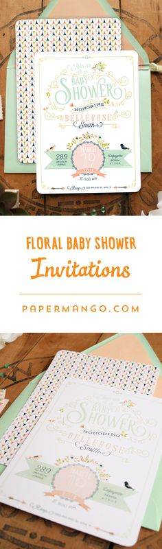 Set the tone for a vintage and chic baby shower with these unique baby shower invitations. #papermango #mint #babyshower
