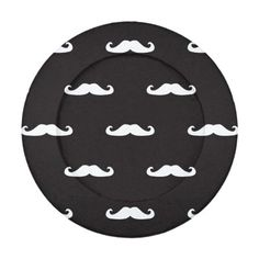 Mustache hipster pattern pack of small button covers Seamless vector pattern, background or texture with white curly vintage retro gentleman mustaches on black background. For websites, desktop wallpaper, blog, web design. © and ® Bi...