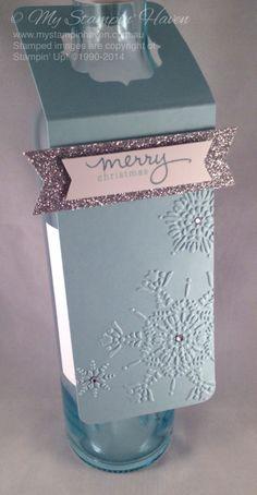 Endless Wishes, Northern Flurry embossing folder, wine bottle gift tag #StampinUp #MyStampinHaven