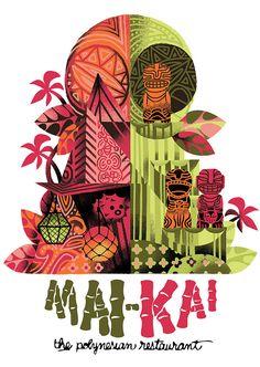 I did a couple shirt designs for the best best tiki bar in the world, the Mai Kai (Fort Lauderdale, FL). Tiki Art, Tiki Tiki, Tiki Hawaii, Tiki Lounge, Vintage Tiki, Tiki Torches, Tiki Room, Tropical, Ephemera