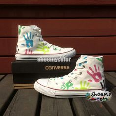 cf80f3b46448 Womens Converse Shoes Palm Print White Hand Painted Canvas Sneakers
