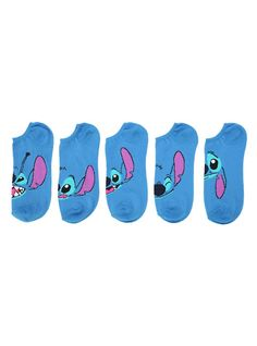 Disney Lilo & Stitch Faces No-Show Socks 5 Pair,