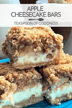 There's nothing tastier than a delicious cheesecake treat. Whether you're looking to use up the apples from apple picking or simply craving an apple cheesecake bar made from scratch, you're sure to love these apple cheesecake bars. Apple Desserts, Mini Desserts, Fall Desserts, Apple Recipes, Just Desserts, Baking Recipes, Delicious Desserts, Yummy Food, Good Recipes
