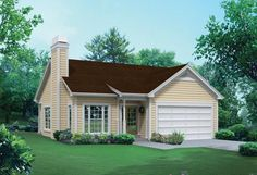 House Plan 5633-00207 - Narrow Lot Plan: 1,281 Square Feet, 3 Bedrooms, 2 Bathrooms