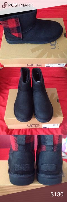 9.0 UGG Mini Plaid This is a pair of authentic UGG boots. Brand new, with the original box. It is the water resistant suede, with plaid design on the back. Originally $160+ tax, so price is FIRM. No trades. Thank you for looking. I do sell across multiple sites, so please check availability before purchasing. UGG Shoes Ankle Boots & Booties
