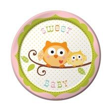 "Owl Baby Shower Plates in Pink - Happi Tree 7"" Dessert Plates at settocelebrate.com"