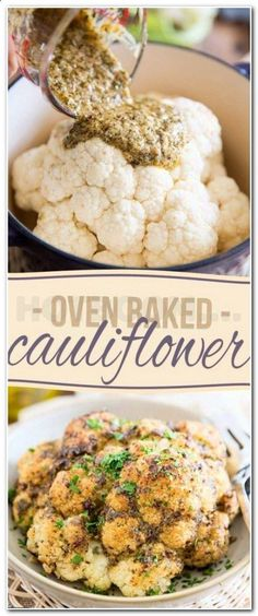 Baked Cauliflower Recipe Whole.Whole Roasted Cauliflower With Butter Sauce Twice Baked Cauliflower With Bacon Sour Cream Cheese! Roasted Cauliflower Steaks With Golden Raisins And Pine . Oven Baked Cauliflower, Parmesan Roasted Cauliflower, Cauliflower Recipes, Great Vegan Recipes, Vegan Dinner Recipes, Vegan Dinners, Pasta Recipes, Fat Burning Soup, Fat Burning Foods