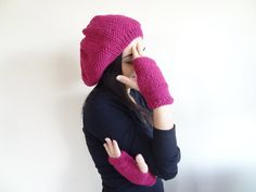 Fuchsia Hat Beanie and Gloves Set Knit Beanie and  by SwomanStore