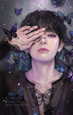 Foto Bts, Bts Photo, Taehyung Fanart, V Taehyung, Wattpad Book Covers, Bts Drawings, Bts Chibi, Bts Fans, Kpop Fanart