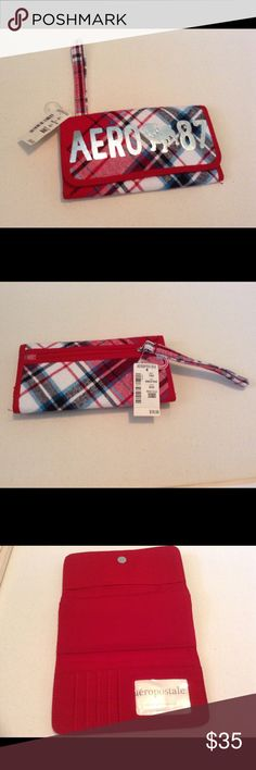 Aeropostale Red Plaid Wallet Red Plaid trifold wallet card slots bill holder red new with tags Aeropostale Accessories Key & Card Holders