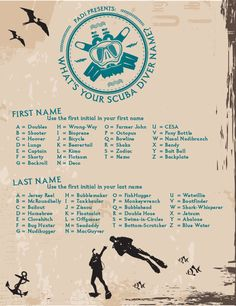 Find your scuba diver nickname
