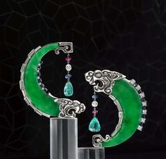 Samuel Kung's Dragon earrings are an auspicious, classical Chinese motif set with Imperial green jadeite, diamonds, sapphires and aquamarine.