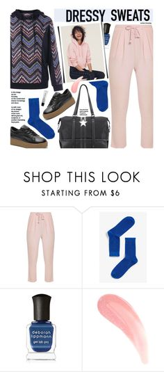 """Untitled #3688"" by beebeely-look ❤ liked on Polyvore featuring Monki, Deborah Lippmann, H&M, Bobbi Brown Cosmetics, BackToSchool, sporty, sweatpants, sammydress and sportystyle"