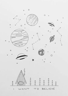 I want to believe - # want - Zeichnungen bleistift einfach Space Drawings, Cool Art Drawings, Pencil Art Drawings, Doodle Drawings, Easy Drawings, Doodle Art, Art Sketches, Drawing Ideas, Simple Sketches