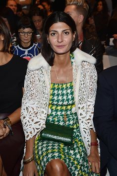 Giovanna Battaglia attends the Max Mara show during the Milan Fashion Week Spring/Summer 2016 on September 24 2015 in Milan Italy