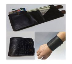 Travel Sports wallet  Men Leather wallet Wrist wallet Gifts for him Purse Dark brown Wanderlust Leather cuff Travel accessories
